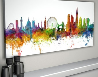 London Skyline Canvas, London England Cityscape Box Canvas Art Print (1027)