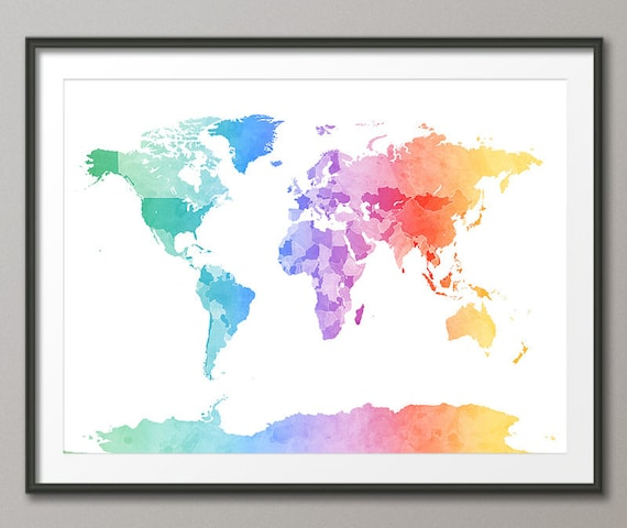 Watercolor Map of the World Map, Art Print (1274)