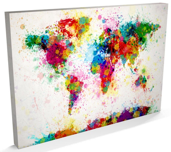 Paint splashes map of the world map canvas art print 168 etsy image 0 gumiabroncs Gallery