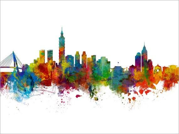 Taipei Taiwan Poster Print Skyline Travel Art Asia