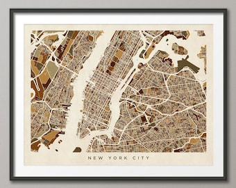 New York City Street Map USA, Art Print (440)