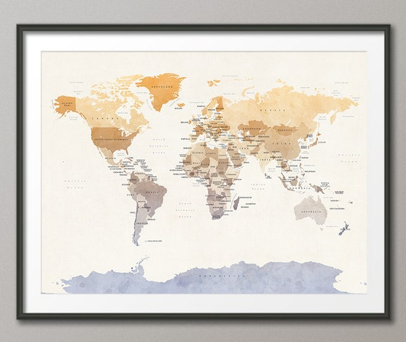 Political Map Of The World Map Art Print 18x24 Up To 24x36 Etsy