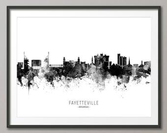 Fayetteville Skyline, Fayetteville Arkansas Cityscape Art Print Poster (11646)