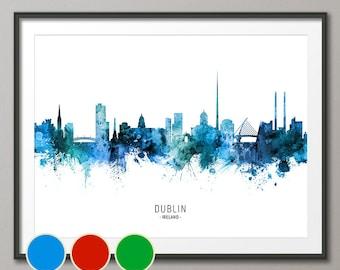Dublin Skyline Ireland, Cityscape Art Poster Print Blue Red Green (20788)