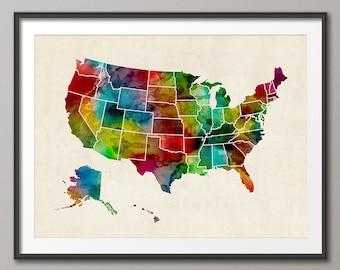 Watercolor United States Map (USA), Art Print (1047)