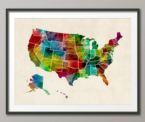 United States Map Picture Frame.Watercolor United States Map Usa Art Print 1047 Etsy