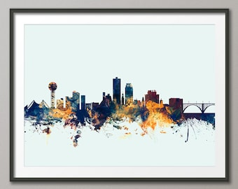 Knoxville Skyline, Knoxville Tennessee Cityscape Art Print (2127)