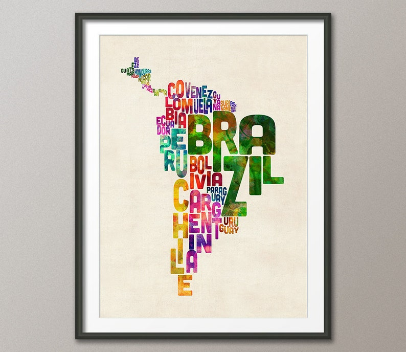 South America Map Typography Text Map of Central America and image 0