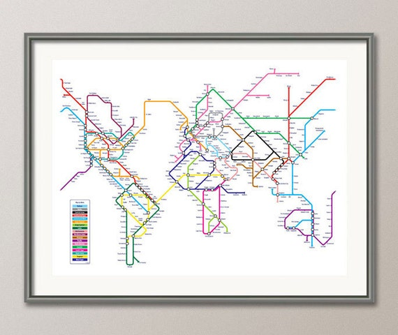 World map as a tube metro subway system art print 596 etsy image 0 gumiabroncs Images