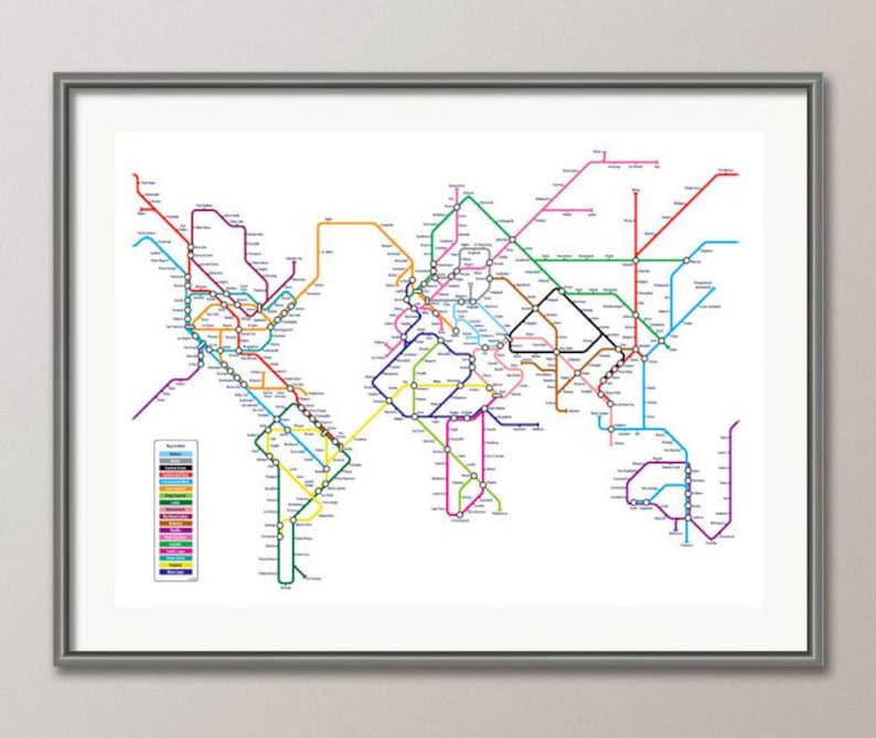World Metro Subway Map.World Map As A Tube Metro Subway System Art Print 596