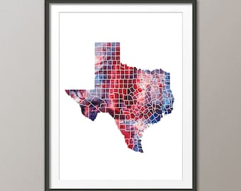 Texas Map, Map of Texas United States, Art Print (2346)