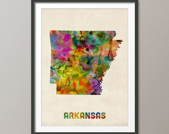 Arkansas Watercolor Map USA, Art Print (401)
