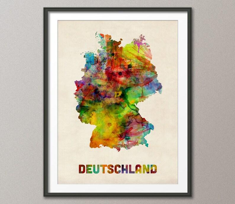 Germany Watercolor Map Deutschland Art Print 431 | Etsy