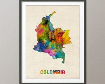 Colombia Watercolor Map, Art Print (1103)