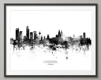 Liverpool Skyline, Liverpool England Cityscape Art Print Poster (11471)