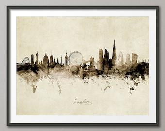 London Skyline England, Cityscape Art Print Poster Vintage Sepia (8942)
