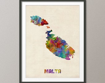 Malta Watercolor Map, Art Print (18)