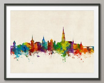 Bern Skyline, Bern Switzerland Cityscape Art Print (2685)