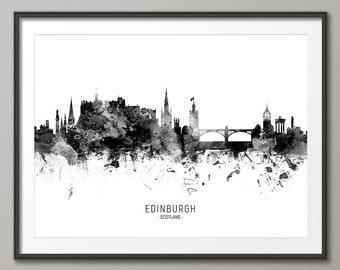 Edinburgh Skyline, Edinburgh Scotland Cityscape Art Print Poster (11461)