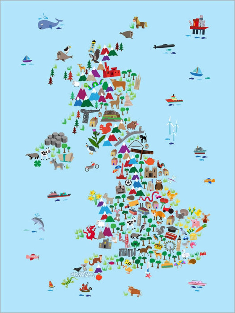 Map Of Uk For Printing.Great Britain Animal Map For Children And Kids Uk Map Art Print 2848