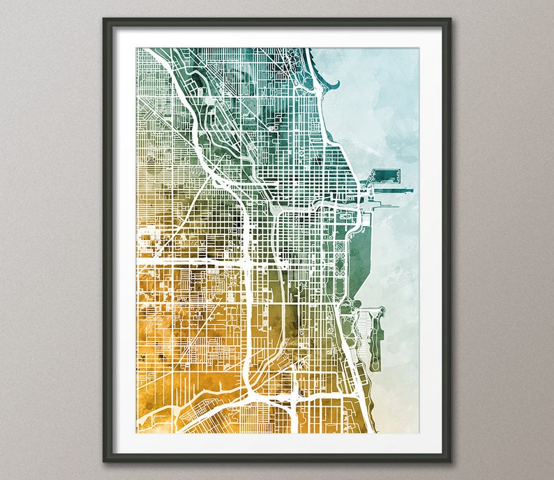 Chicago Map Chicago Illinois City Street Map Art Print | Etsy on