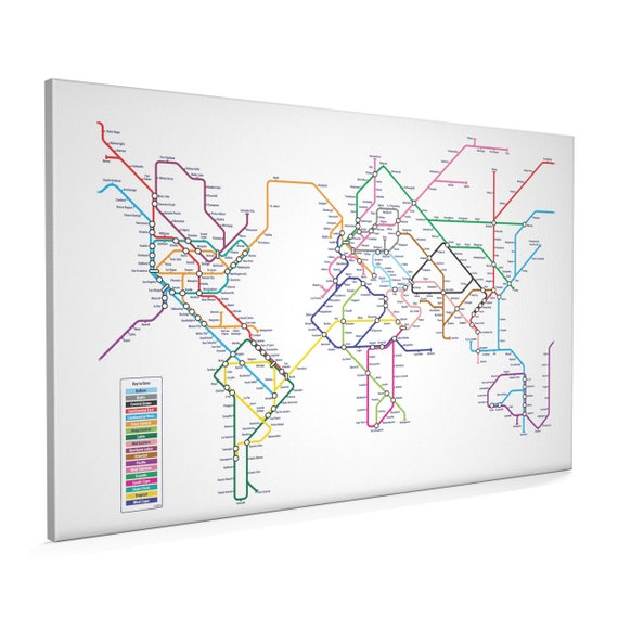 World map as a tube metro system canvas art print 22x34 inch gumiabroncs Images