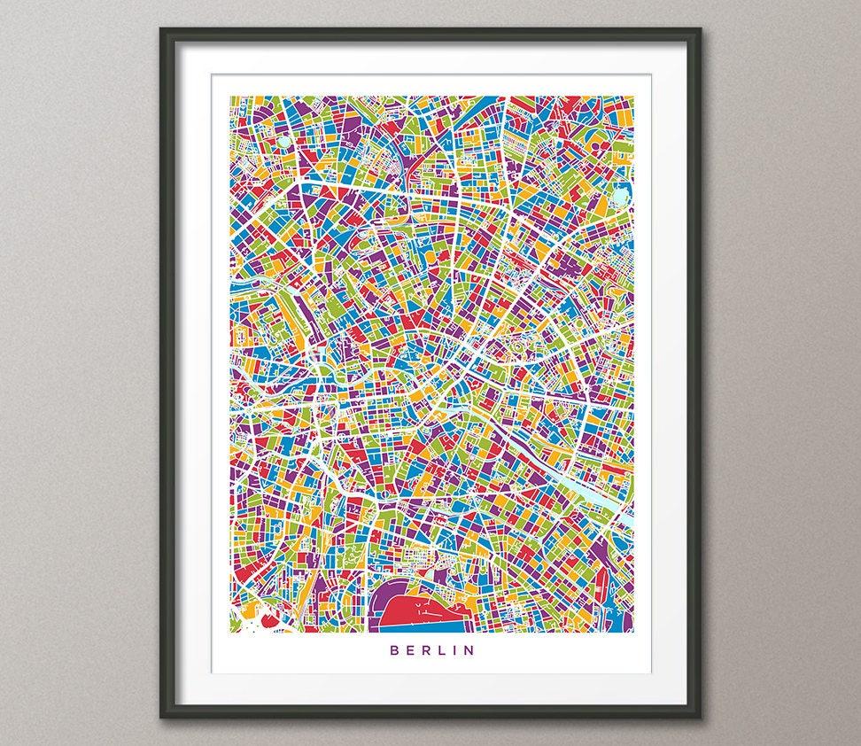Berlin-Karte Berlin Deutschland Stadtplan Kunstdruck 3478 | Etsy