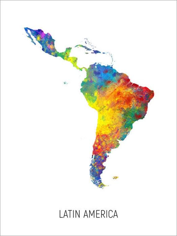 El Salvador Map Watercolour Art Print Poster