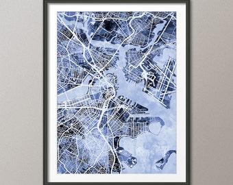 Boston Map, Boston Massachusetts City Street Map, Art Print (1931)