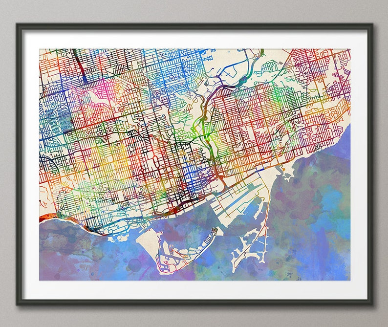 Toronto City Map Toronto Ontario Canada Art Print 2074 Etsy