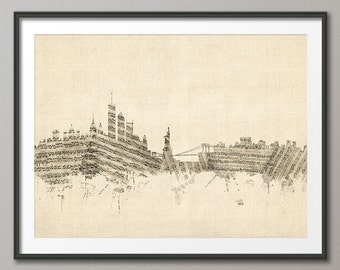 New York City Skyline Sheet Music Cityscape, Art Print (1381)