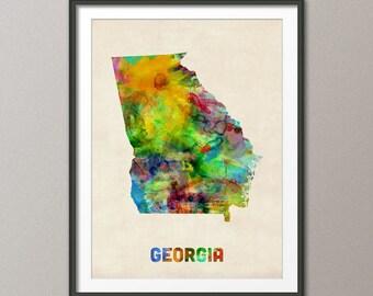Georgia Watercolor Map USA, Art Print (370)