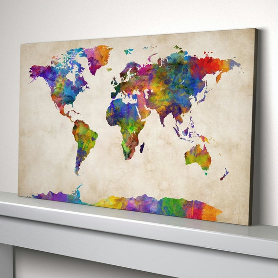 World Map Canvas Watercolour Map of the World Box Canvas Art | Etsy
