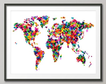 Love Hearts Map of the World Map, Art Print (776)