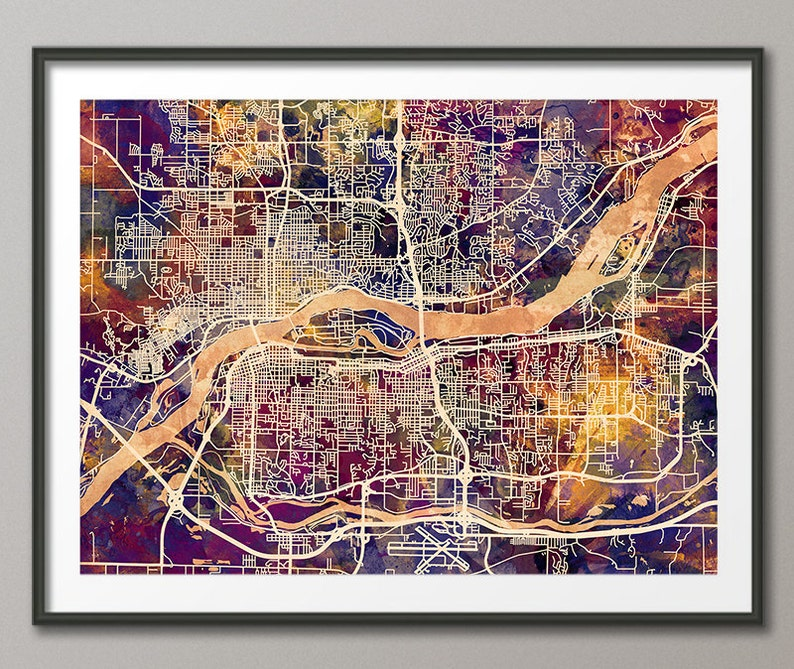 Quad Cities Map Davenport Bettendorf Rock Island Moline   Etsy on