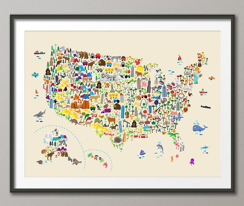 Animal Map of the United States, Map for children and kids, Art Print (4268)