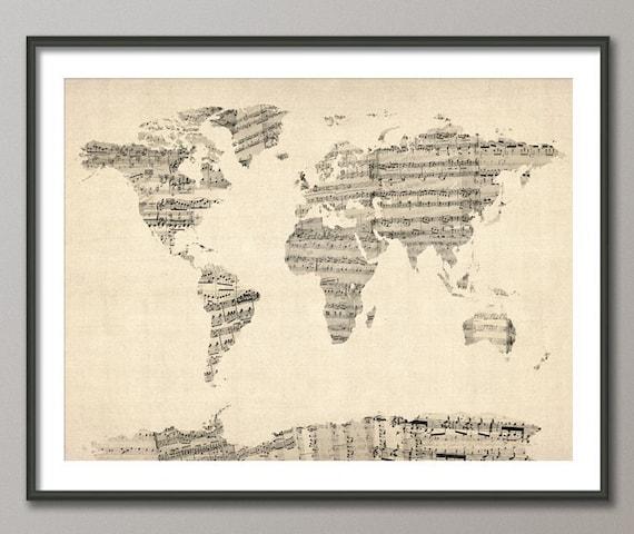 Verwonderlijk Map of the World Map from Old Sheet Music Art Print 895 | Etsy KU-07