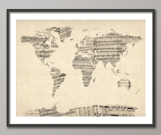 Map of the World Map from Old Sheet Music, Art Print (895)