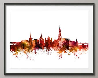Bern Skyline, Bern Switzerland Cityscape Art Print (3097)