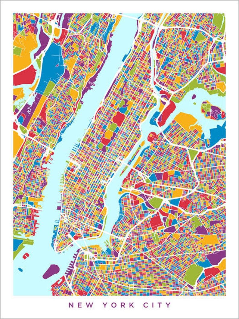 New York City On Map Of Usa.New York City Map Usa Street Map Of New York City Art Print 2960