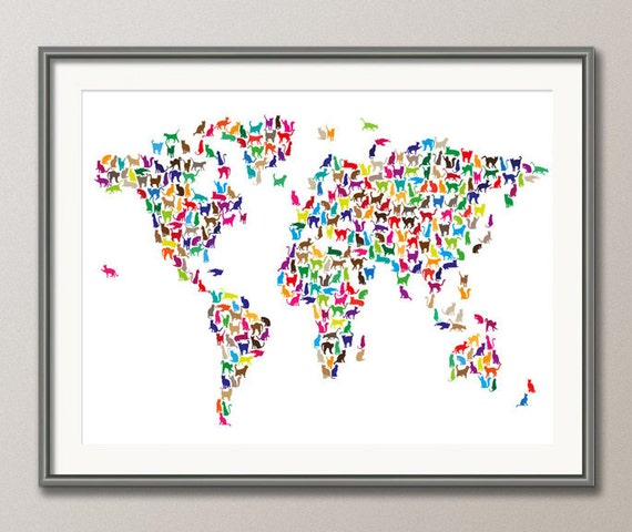 Cats map of the world map art print 181 gumiabroncs Image collections