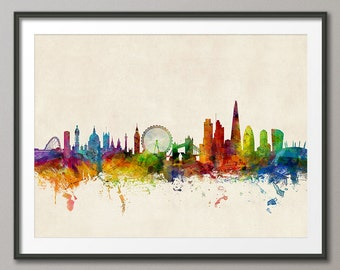London Skyline, London England Cityscape Art Print (1026)