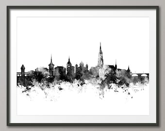 Bern Skyline, Bern Switzerland Cityscape Art Print (2687)