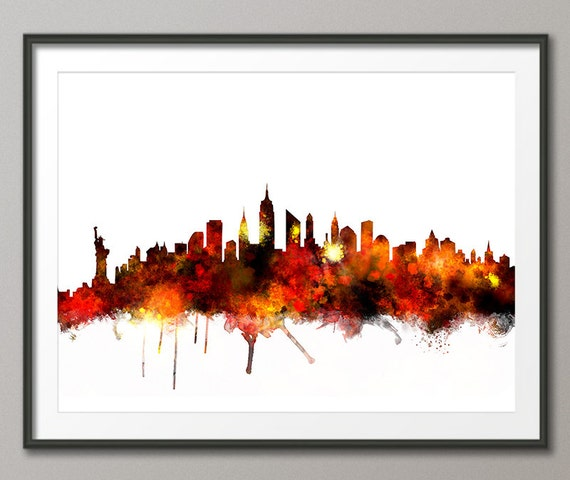 7faebde6b2b New York Skyline NYC Cityscape Art Print 1068