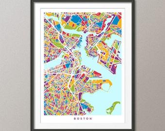 Boston Map, Boston Massachusetts City Street Map, Art Print (1537)