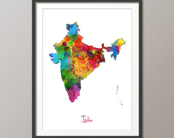 India Watercolor Map, Art Print (1408)