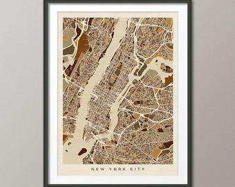 New York City Map USA, Street Map of New York City, Art Print (2961)