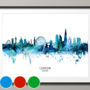 London Skyline London Cityscape England Art Print Wall Art Etsy