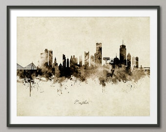 Boston Skyline Vintage, Boston Massachusetts Cityscape Art Print Poster (8951)