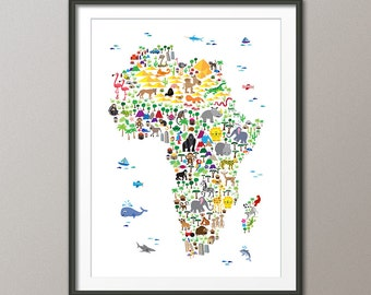 Animal Map of Africa Map for children and kids, Art Print (263)